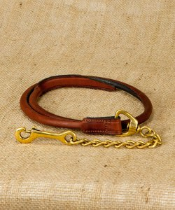 Brown rolled leather main lead with brass fittings